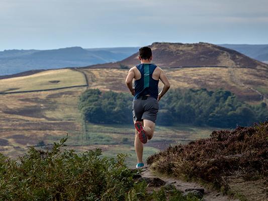 Person running in fields