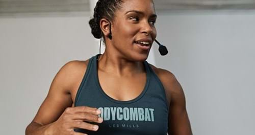 Instructor speaking into microphone