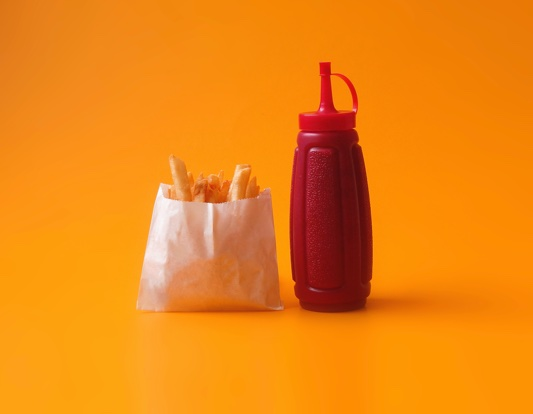 Fries and tomato sauce