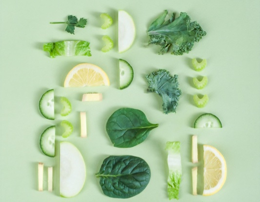 Many green fruit and vegetables