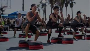 Crowds gathered to watch participants sweat it out in a LES MILLS GRIT™ Plyo workout