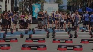 LES MILLS GRIT™ participants wait to compete at the IDEA Summer Games
