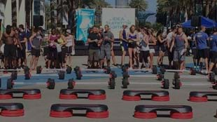 LES MILLS GRIT™ participants wait to compete at the IDEA Summer Games