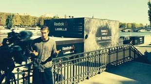 Les Mills Jnr talking to media outside the 'The Project' in Paris