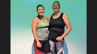 Les Mills Instructor, Heidi Fromm, with Jane Chapman, who says Heidi is her fitness hero.