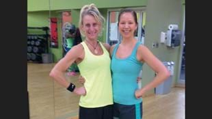 Maura Lafferty with her fitness hero, her Les Mills instructor Emily Oswald.
