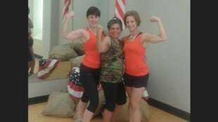 Alda Ollacillium (center) with her fit hero, BODYPUMP™ instructor Rebecca Goff (right) and another BODYPUMP™ instructor, Tammy Rael (right).