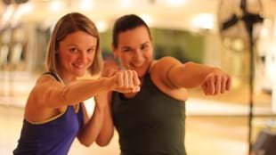 Catherine Benedict with her fitness inspiration, Andréa Morrison-Schindler