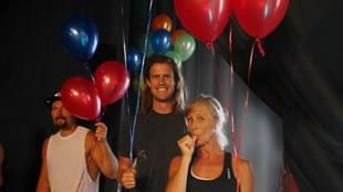 Gandalf Archer-Mills, Les Mills Jnr and Jackie Mills join in on the BODYSTEP™ 100 celebrations