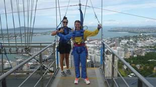 Lisa Collins makes the most of her time in Auckland - by jumping off the Sky Tower.